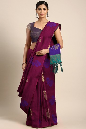 Jacquard Work And Weaving Work Maroon Art Silk Saree And Art Silk Blouse