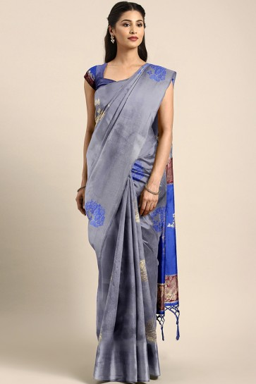 Grey Jacquard Work And Weaving Work Designer Art Silk Saree And Blouse