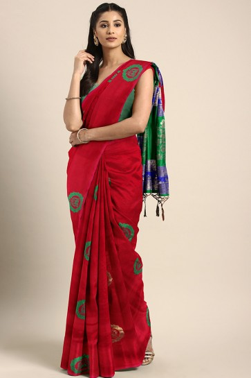 Weaving Work And Jacquard Work Red Art Silk Solid Saree And Blouse