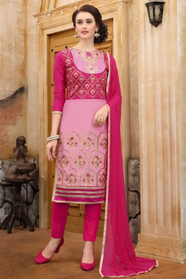 Gorgeous Cotton Pink Embroidered And Border Work Printed Salwar Suit With Nazmin Dupatta