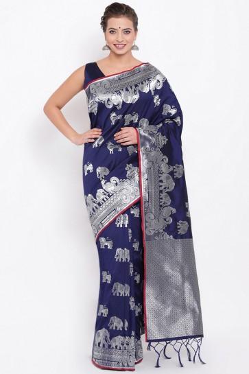Beautiful Navy Blue Weaving Work And Jacquard Work Silk Fabric Saree And Blouse