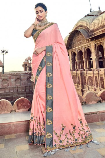 Stylish Baby Pink Embroidred And Zari Work Satin And Silk Saree With Embroidred Blouse