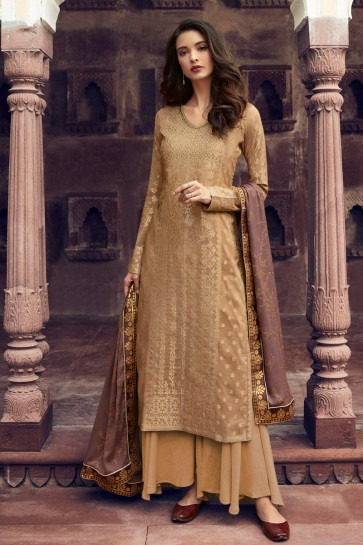Golden Jacquard Work Viscose Plazzo Suit With Silk Dupatta