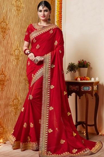 Embroidery Work And Border Work Red Silk Fabric Saree With Lace Work Blouse