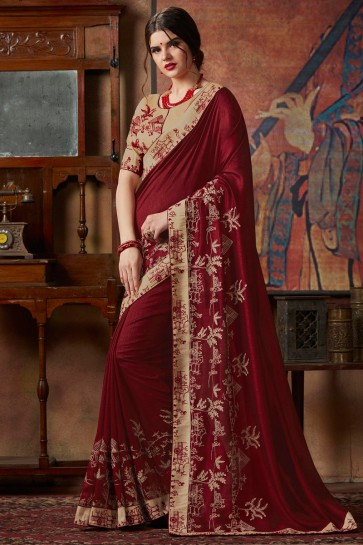 Maroon Thread Work And Lace Work Designer Silk Saree With Lace Work Blouse