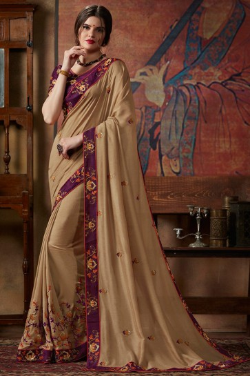 Silk Fabric Beige Sequence Embroidery And Thread Work Saree With Lace Work Blouse