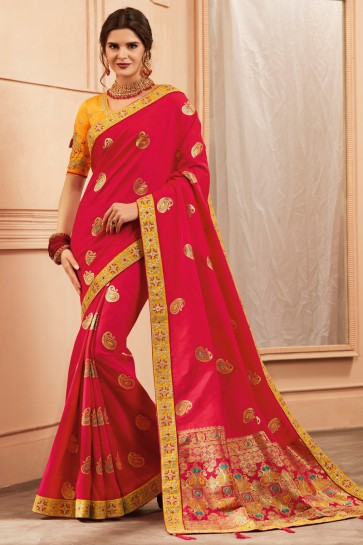 Classic Red Border And Embroidery Work Designer Banarasi Silk Saree And Blouse