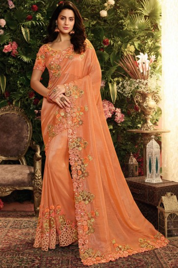 Orange Embroidred And Stone Work Designer Silk Saree With Embroidred Blouse
