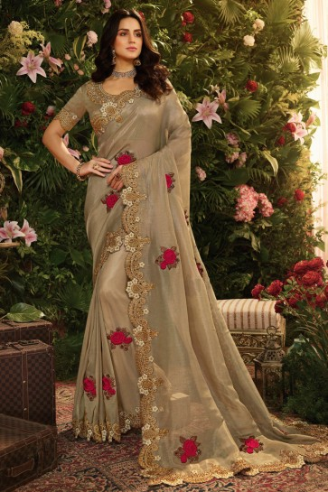 Beige Embroidred And Stone Work Organza Saree With Embroidred Blouse