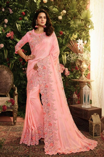 Party Wear Pink Embroidred And Stone Work Viscose Saree And Blouse