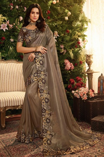Stylish Brown Embroidred And Stone Work Silk Saree And Blouse