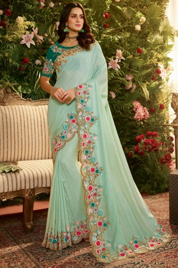 Splendid Sky Blue Embroidred And Stone Work Organza Saree And Blouse