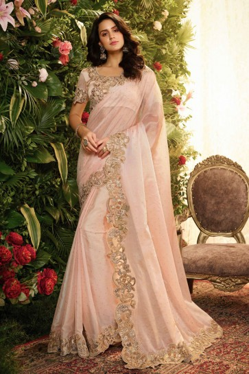 Lovely Baby Pink Embroidred And Stone Work Designer Silk Saree And Blouse