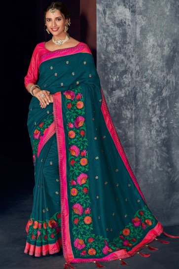 Rama Silk Fabric Stone Work And Embroidered Designer Saree With Thread Work Blouse