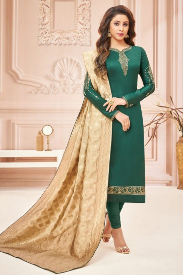 Mehendi Green Silk And Cotton Embroidered And Stone Work Casual Salwar Suit With Jacquard Dupatta