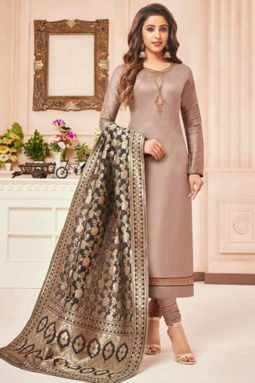 Lovely Embroidered And Stone Work Beige Silk And Cotton Casual Salwar Kameez With Jacquard Dupatta