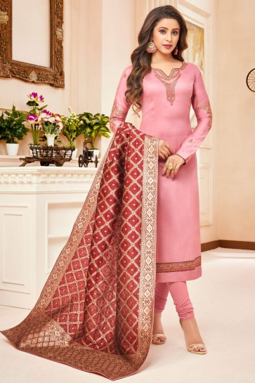 Pink Embroidered And Stone Work Silk And Cotton Casual Salwar Kameez With Jacquard Dupatta