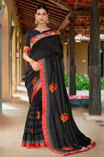 Splendid Wear Black Embroidred And Printed Fancy Fabric Saree And Silk Blouse