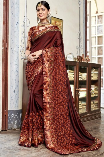 Party Wear Coffee Digital Printed And Embroidered Rangoli Georgette Saree With Banglori Silk Blouse