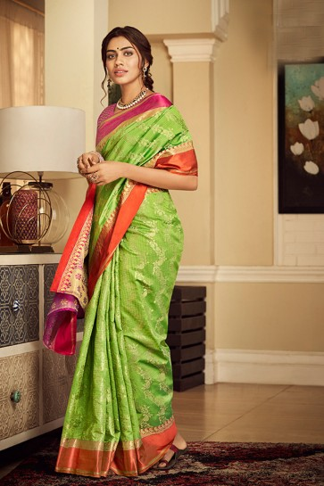 Classy Light Green Weaving Work And Jacquard Work Silk Saree And Blouse