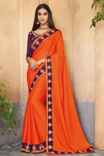 Supreme Embroidered Orange Silk Saree With Banglori Silk Blouse