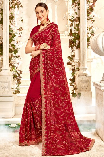 Party Wear Maroon Border And Embroidery Work Designer Georgette Fabric Saree And Blouse