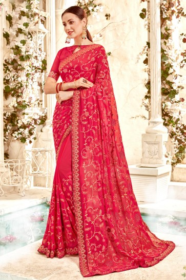 Desirable Red Embroidery And Lace Work Georgette Fabric Saree And Blouse