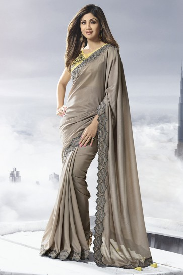Shilpa Shetty Satin Fabric Grey Border Work Designer Saree And Thread Work Blouse