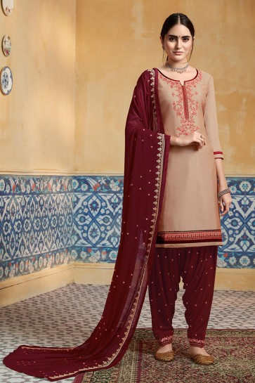 Party Wear Embroidered Designer Beige Satin Fabric Patiala Suit With Nazmin Dupatta