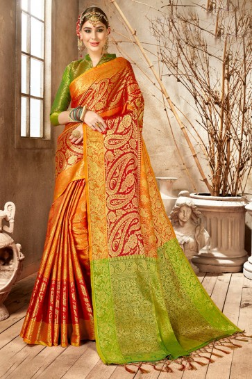 Dazzling Multicolor Weaving Work And Jacquard Work Silk Saree And Blouse