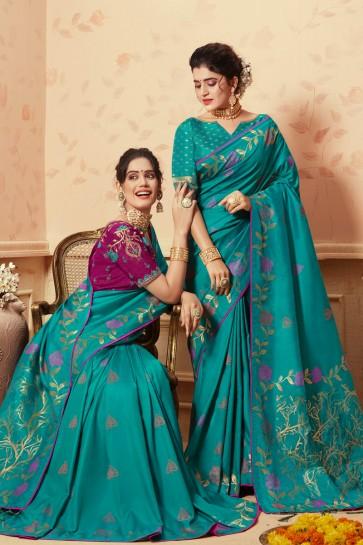 Party Wear Sky Blue Weaving Work Banarasi Silk Saree And Blouse