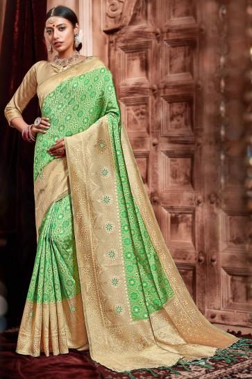 Party Wear Light Green Weaving Work Designer Silk Fabric Saree With Border Work Blouse