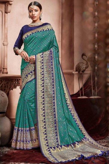 Graceful Green Silk Fabric Weaving Work Designer Saree With Border Work Blouse