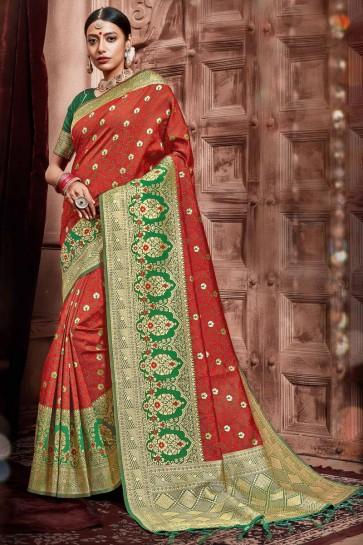 Delightful Silk Fabric Weaving Work Designer Red Saree With Border Work Blouse