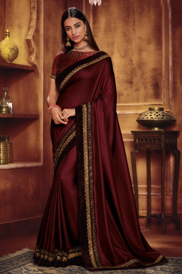 Embroidered Magenta Satin And Silk Designer Saree And Blouse