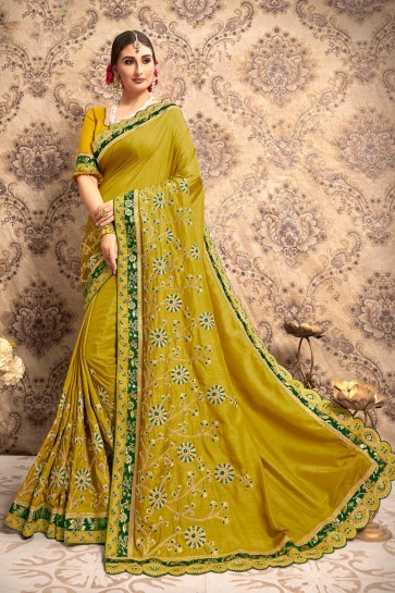 Appealing Silk Fabric Olive Embroidery Work Solid Saree And Blouse