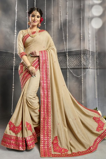 Charming Chanderi Silk Fabric Beige Beads Work And Embroidered Designer Saree And Blouse