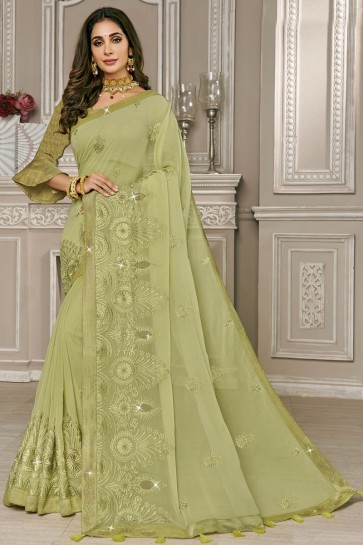 Embroidered Designer Olive Georgette Fabric Saree With Silk Blouse