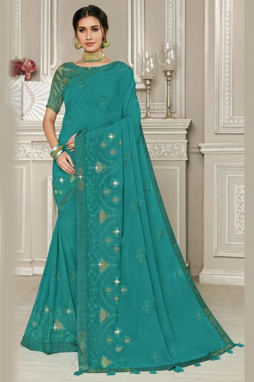Marvelous Georgette Fabric Teal Embroidery Work Designer Saree With Silk Blouse