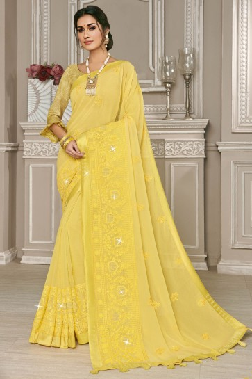 Georgette Silk Fabric Yellow Embroidery Work Designer Stylish Saree And Blouse