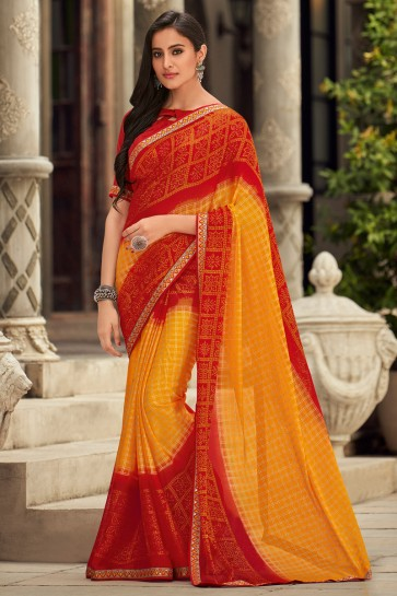 Delightful Chiffon Fabric Embroidered Designer Yellow And Red Saree And Blouse