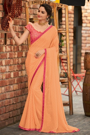 Chiffon Fabric Peach Embroidered Designer Saree And Blouse