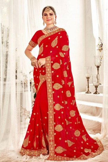 Red Georgette Fabric Designer Embroidered And Zari Work Designer Saree And Blouse