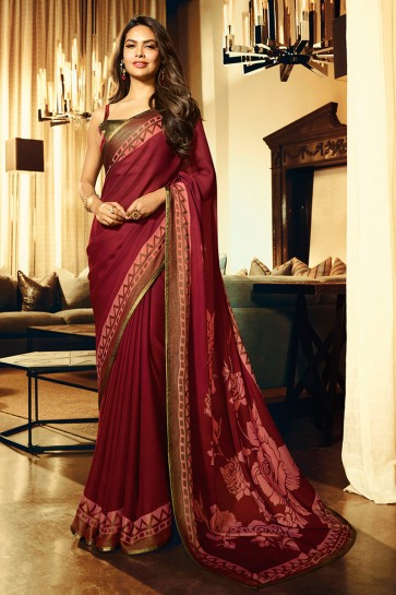 Esha Gupta Party Wear Maroon Printed Designer Georgette Fabric Saree And Blouse