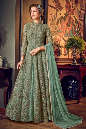 Charming Net And Satin Green Embroidered And Sequins Work Anarkali Suit With Chiffon Dupatta