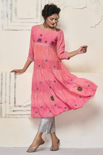 Marvelous Pink Cotton Hand Work Kurti