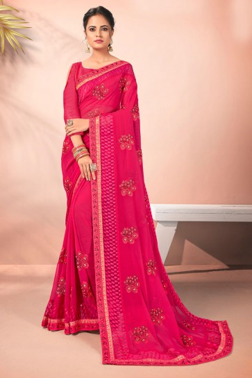 Pink Georgette Fabric Embroidered Designer Saree And Blouse