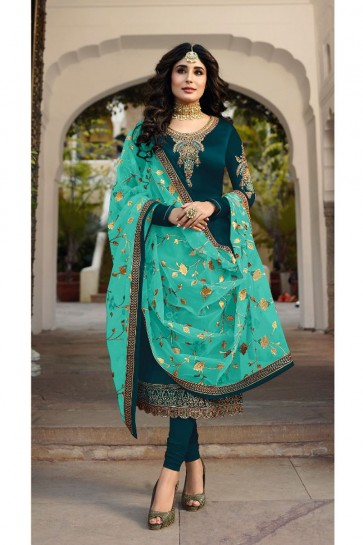 Kritika Kamra Lovely Embroidered And Stone Work Blue Georgette Satin Salwar Kameez With Net Dupatta