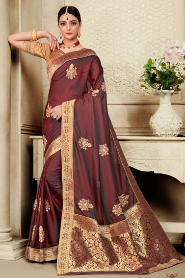 Delicate Embroidered And Jaquard Work Designer Coffee Silk Fabric Saree With Border Work Blouse