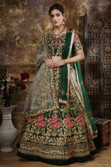 Green Silk Fabric Embroidered And Zari Work Designer Lehenga Choli With Net Dupatta